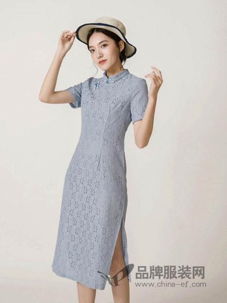蕉叶绿了女装品牌2019春夏改良蕾丝中长款日常性感礼服式连衣裙