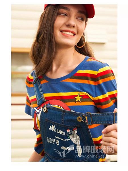 珈姿・莱尔女装品牌2019春夏新款韩版彩色条纹针织短袖T恤