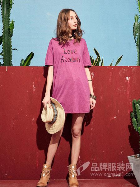 阿卡女装品牌2019春夏新款字母圆领t恤女中长款落肩短袖上衣时尚休闲