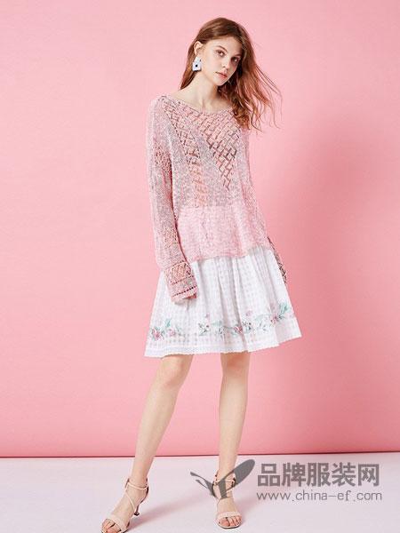 阿卡女装品牌2019春夏新款白色印花短款半身裙法式复古宽松