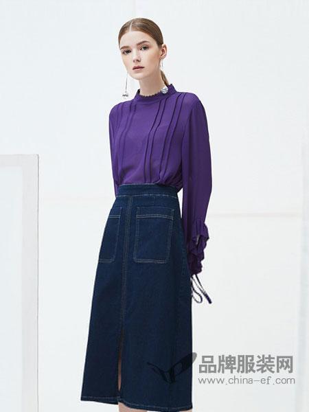 如缤RUBIN女装品牌2019春夏新款韩版半身裙显瘦开叉高腰A字裙