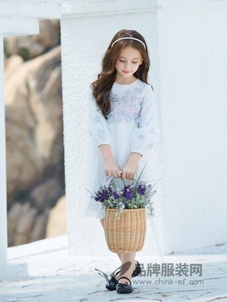 淘气贝贝/可趣可奇/艾米艾门童装品牌2019春夏拼接纯棉公主收腰长袖裙