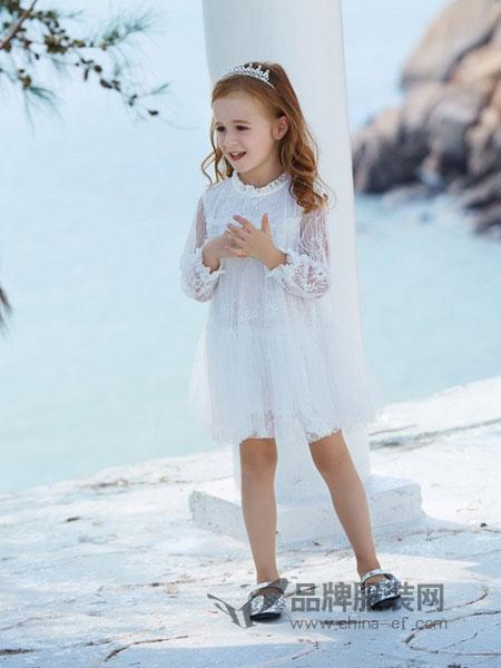 淘气贝贝/可趣可奇/艾米艾门童装品牌2019春夏白色镂空蕾丝连衣裙