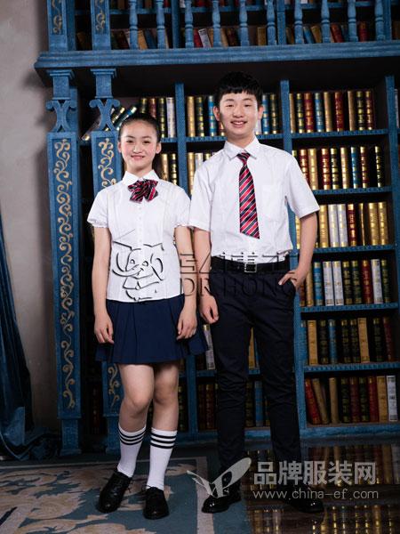 弘博士童装品牌2019春夏短袖白衬衫纯棉中大童小学生学院校服演出服儿童衬衣