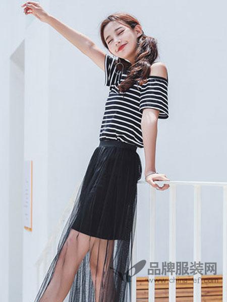 恩尚女装品牌2019春夏新款条纹露肩韩范短袖T恤