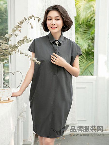 迪葵纳Dequanna女装品牌2019春夏新款中老年宽松连衣裙