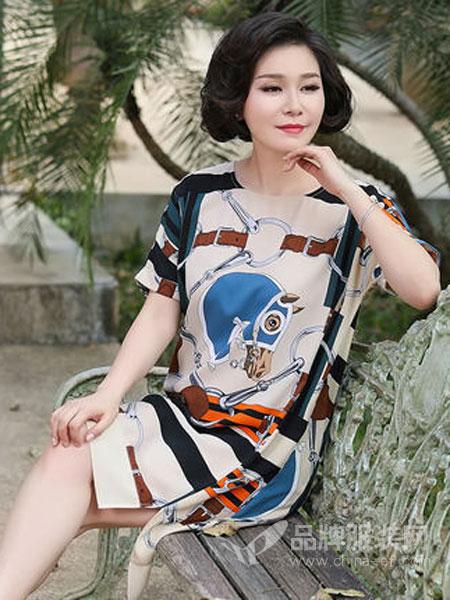 迪葵纳Dequanna女装品牌2019春夏新款中年短袖时尚连衣裙