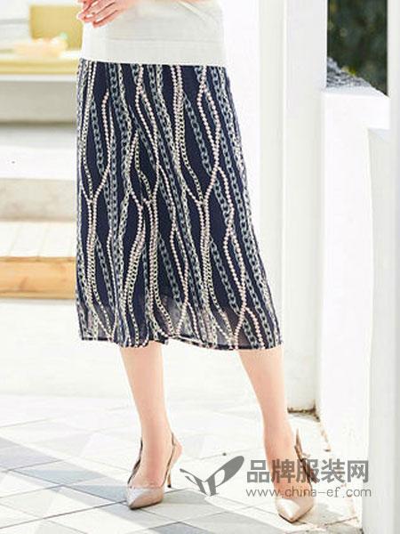 迪葵纳Dequanna女装品牌2019春夏新款中年女阔腿中老年七分休闲裤