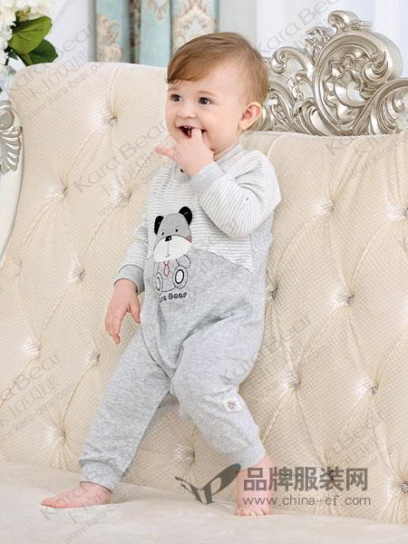 卡拉贝熊童装品牌2019春季新款长袖斜襟连衣裤连身哈衣爬服