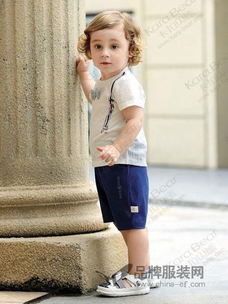卡拉贝熊童装品牌2019春季短袖上衣男童短袖T恤印背带领结衫