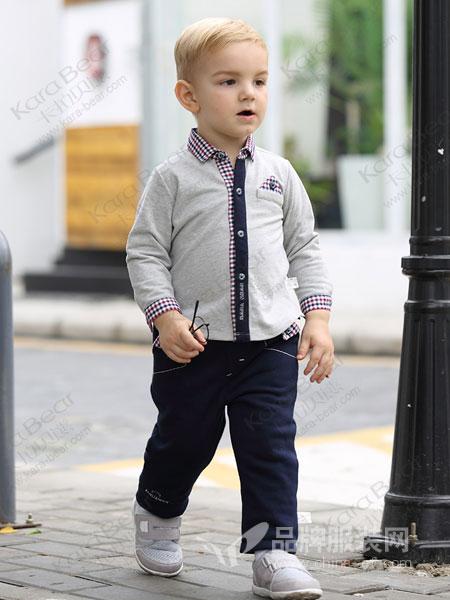 卡拉贝熊童装品牌2019春季格子翻领衫  新款经典男童针织衬衫