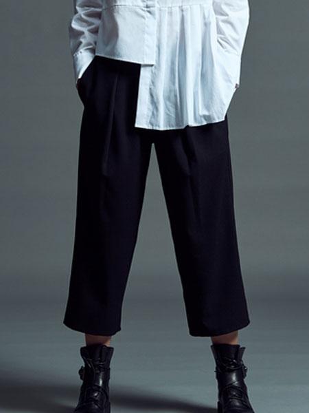 MLAU女装品牌2019春季新款高腰宽松直筒休闲裤坠感阔腿裤