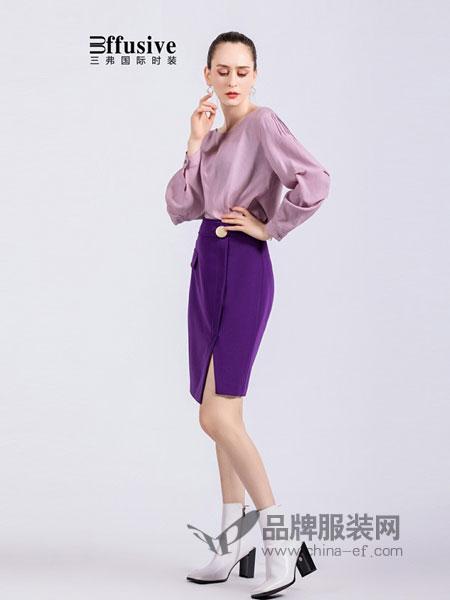 3ffusive女装品牌2019春夏新款简约气质灯笼袖修身五分袖衬衫