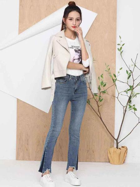 蓝缇儿女装品牌2019春夏新款不规则毛边直筒牛仔裤韩版高腰微喇裤显瘦九分裤
