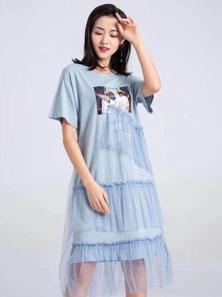 蓝缇儿女装品牌2019春夏新款网纱拼接短袖t恤连衣裙时尚修身小众长裙宽松潮