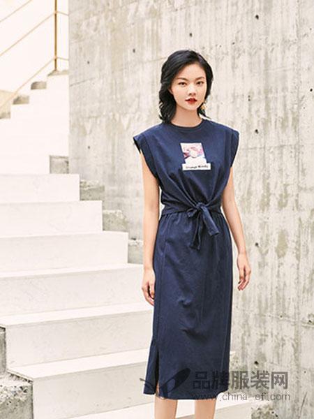 汀丁可女装品牌2019春夏中长款开叉无袖修身纯色裙