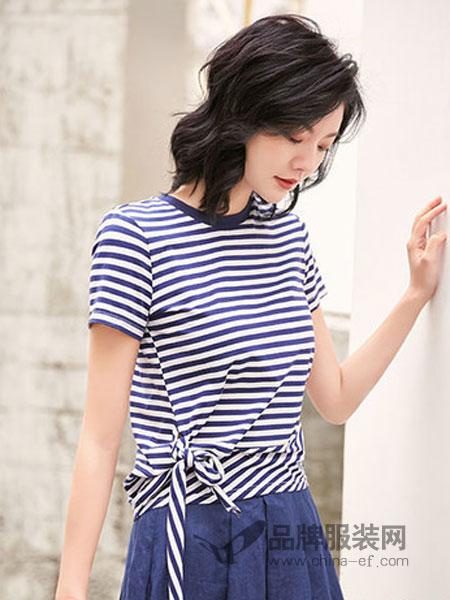 汀丁可女装品牌2019春夏新款宽松圆领条纹系带短袖T恤