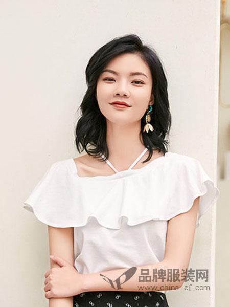 汀丁可女装品牌2019春夏韩版V领纯棉收腰修身荷叶边上衣