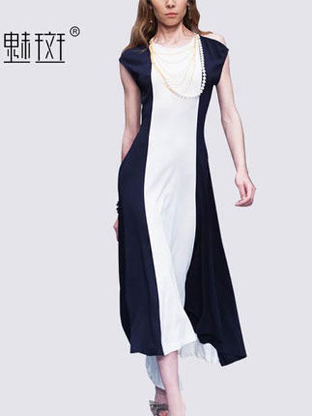 魅斑女装品牌2019春夏新款欧美中长款时尚休闲A字裙子无袖拼接连衣裙