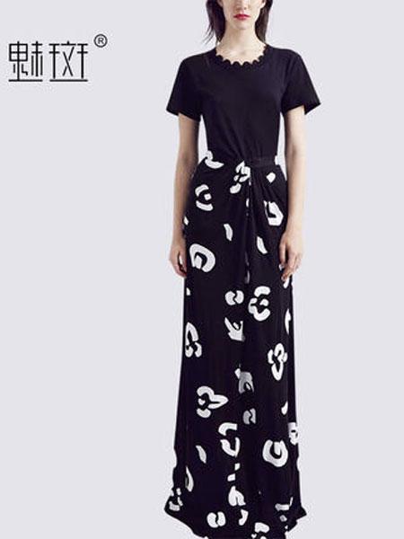 魅斑女装品牌2019春夏新款御姐套装短袖T恤女神范套装印花半身裙长裙两件套