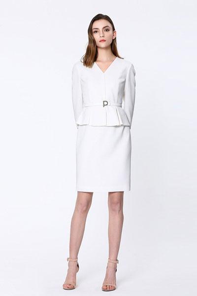 宝姿1961女装品牌2019春夏新款气质V领假两件连衣裙职业包臀裙