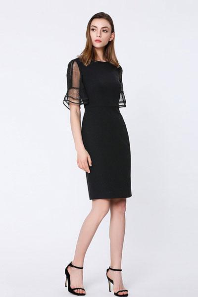 宝姿1961女装品牌2019春夏新款优雅圆领中袖收腰连衣裙