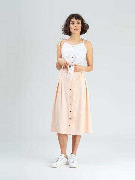 Dori Tomcsany女装品牌2019春夏新款排扣A字中长裙高腰包臀半身裙