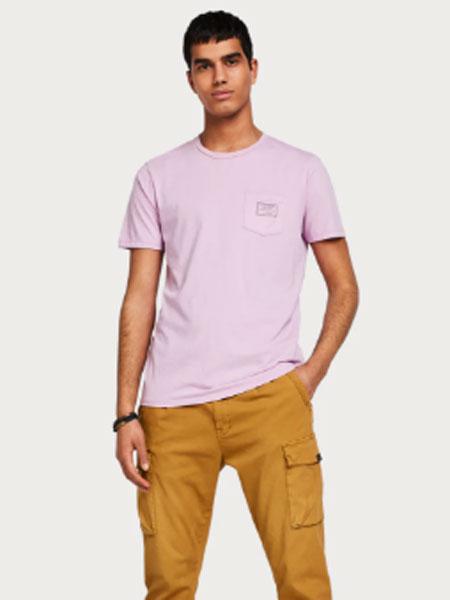 苏格兰苏打男装品牌2019春季纯色修身T恤圆领个性口袋纯棉上衣