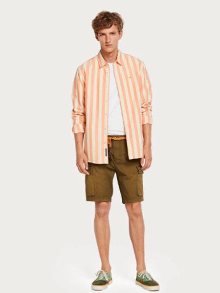 苏格兰苏打男装品牌2019春季新款显瘦竖条纹衬衫韩版长袖宽松上衣