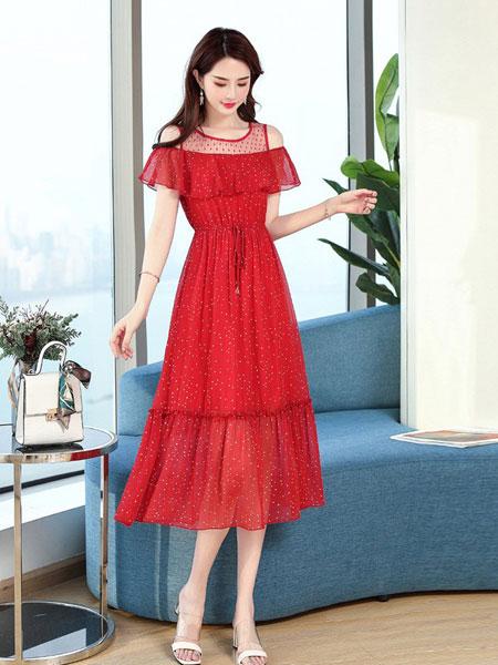 杭依阁女装品牌2019春夏新款修身显瘦流行一字肩波点裙子