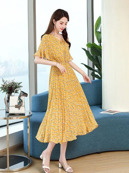 杭依阁女装品牌2019春夏新款韩版收腰修身显瘦v领流行裙子
