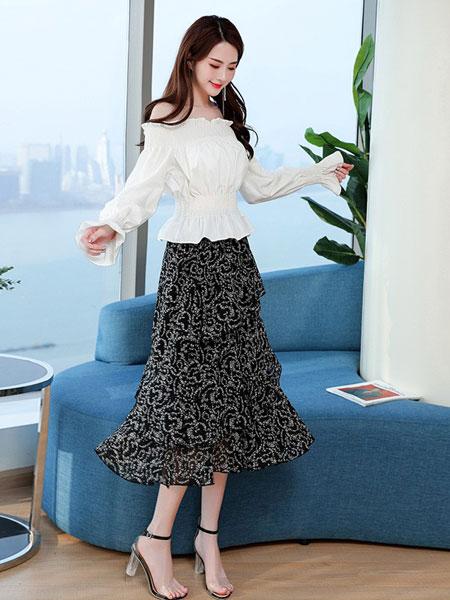 杭依阁女装品牌2019春夏新款韩版中长款雪纺适合胯大腿粗的裙子