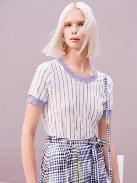 歌锦女装品牌2019春夏新款休闲宽松五分袖打底衫白色上衣