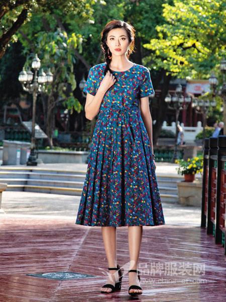千唐绣女装品牌2019春夏新款文艺棉麻印花中长款短袖连衣裙