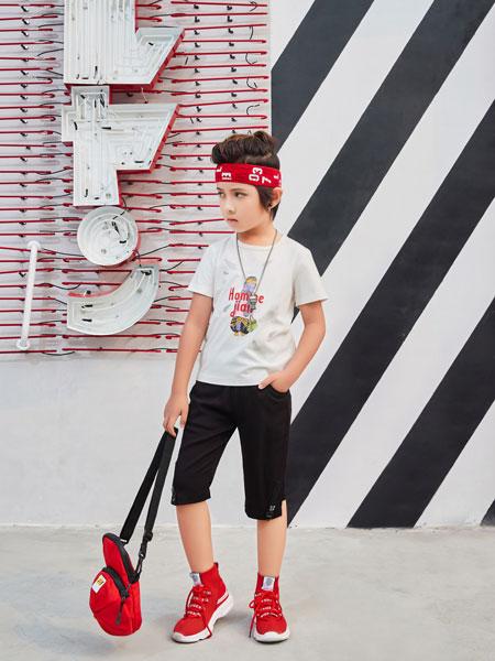 卡尔菲特童装品牌2019春夏新款中大童撞色拼接字母印花上衣