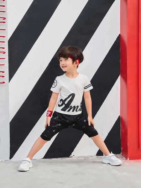 卡尔菲特童装品牌2019春夏新款时尚字母套装男童潮童短裤短袖百搭外出两件套