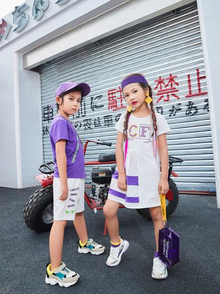 卡尔菲特童装品牌2019春夏新款韩版儿童字母印花无袖t恤中大童连衣裙