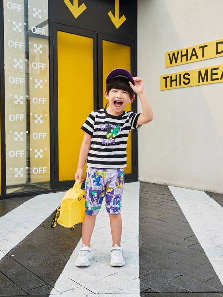 卡尔菲特童装品牌2019春夏新款韩版圆领半袖条纹短袖T恤