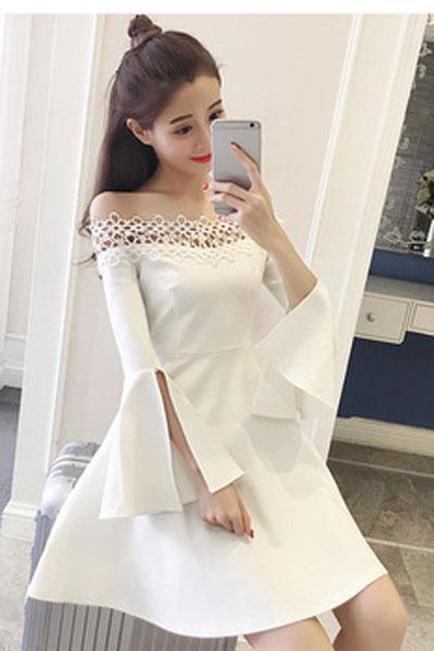 瑞尔女装品牌2019春夏新款小礼服女名媛蓬蓬裙黑色露肩一字肩连衣裙