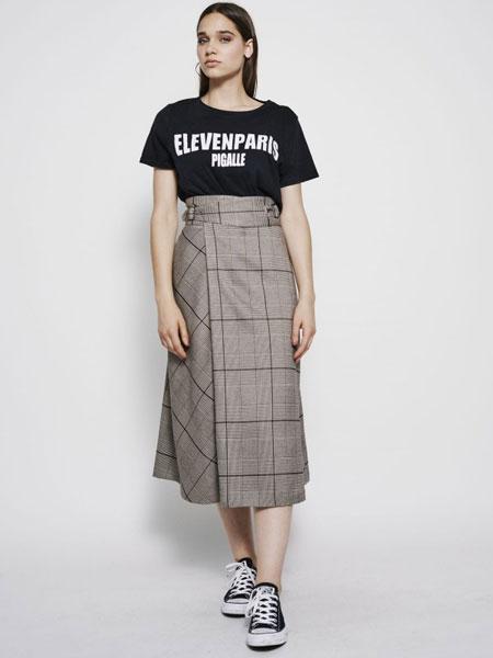 Eleven Paris休闲品牌2019春夏新款复古格纹A字格纹半身裙