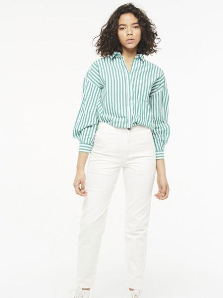 Eleven Paris休闲品牌2019春夏新款时尚韩版修身显瘦长袖上衣v领条纹衬衣