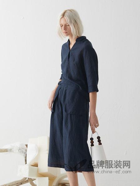必然女装品牌2019春夏复古文艺亚麻套头V领连衣裙 中长款宽松系带收腰