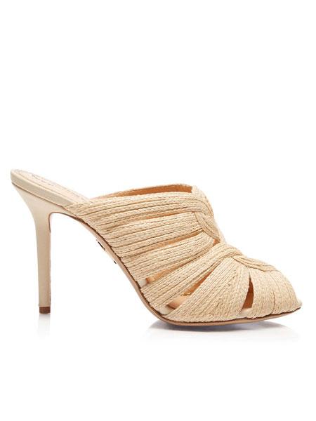 Charlotte Olympia夏洛特·奥林匹亚鞋帽/领带品牌2019春夏编织装饰高跟凉鞋