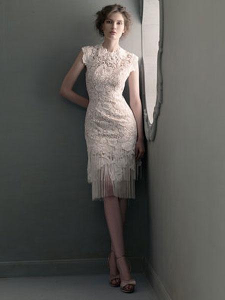 St.Pucchi婚纱/礼服品牌2019春夏新款名媛蕾丝花边修身显瘦包臀流苏连衣裙中长裙