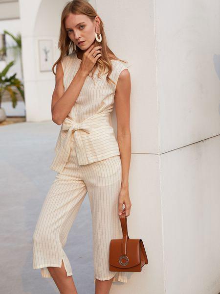 衣艾女装品牌2019春夏新款通勤修身长裤