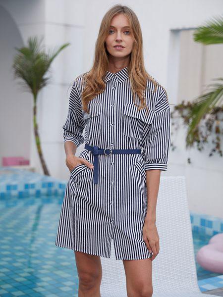 衣艾女装品牌2019春夏韩版时尚修身显瘦百搭条纹系带衬衫A字裙
