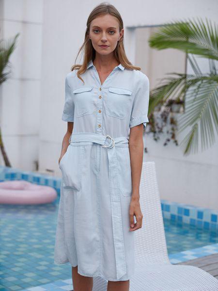 衣艾女装品牌2019春夏甜美系带收腰开叉衬衫长裙