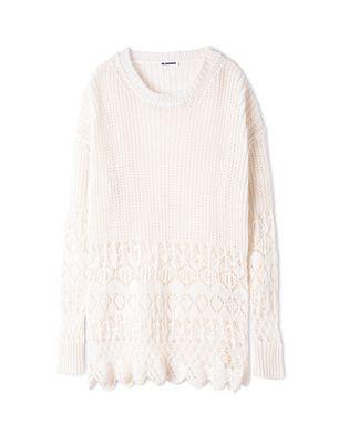 Jil Sander吉尔·桑德女装品牌2019春夏新款米白色宽松慵懒风镂空上衣