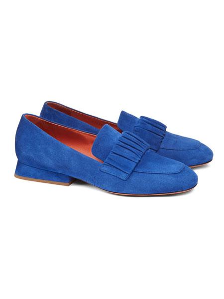 Santoni鞋帽/领带品牌2019春夏新款英伦方头单鞋懒人一脚蹬小皮鞋