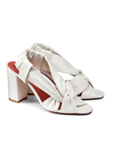 Santoni鞋帽/领带品牌2019春夏侧搭扣女士凉鞋